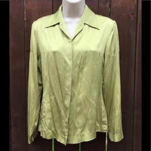 Caslon, 100% Silk Green Blouse.